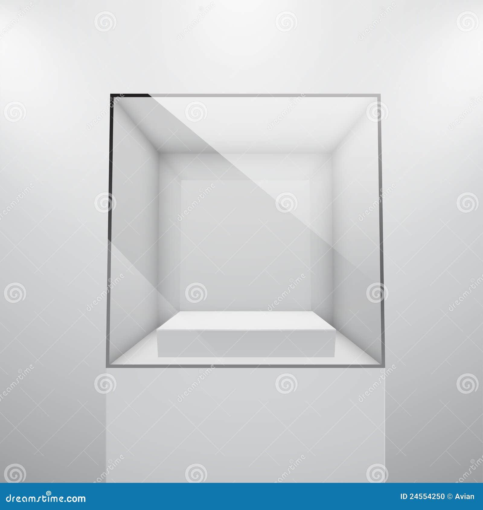 Exhibition D Vector : Empty glass showcase for exhibit d vector