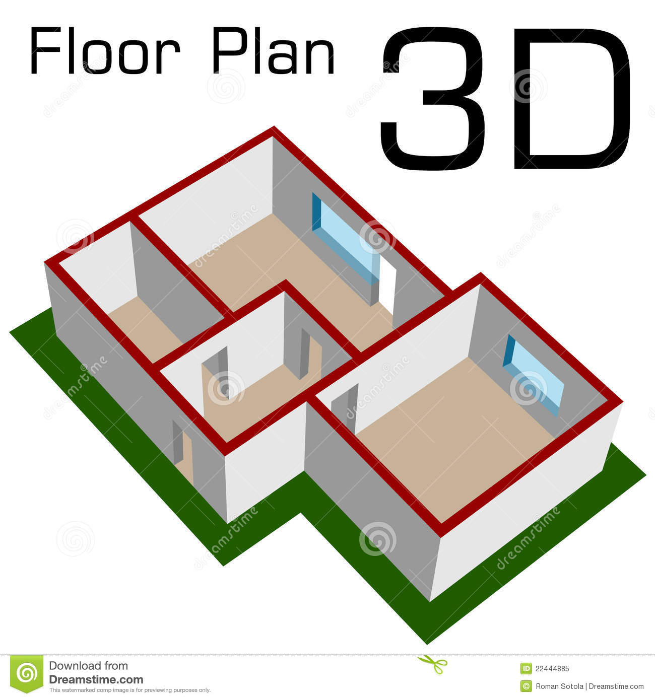 3d empty house floor plan stock vector illustration of for Plan 3d online home design free