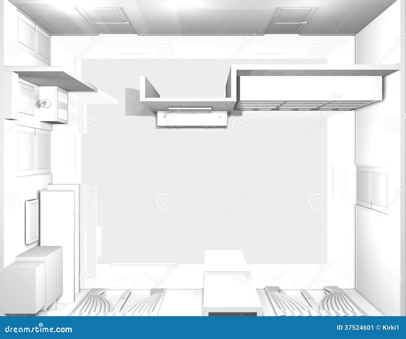 Empty Living Room: 3d Empty Upper View Of Living Room Stock Image