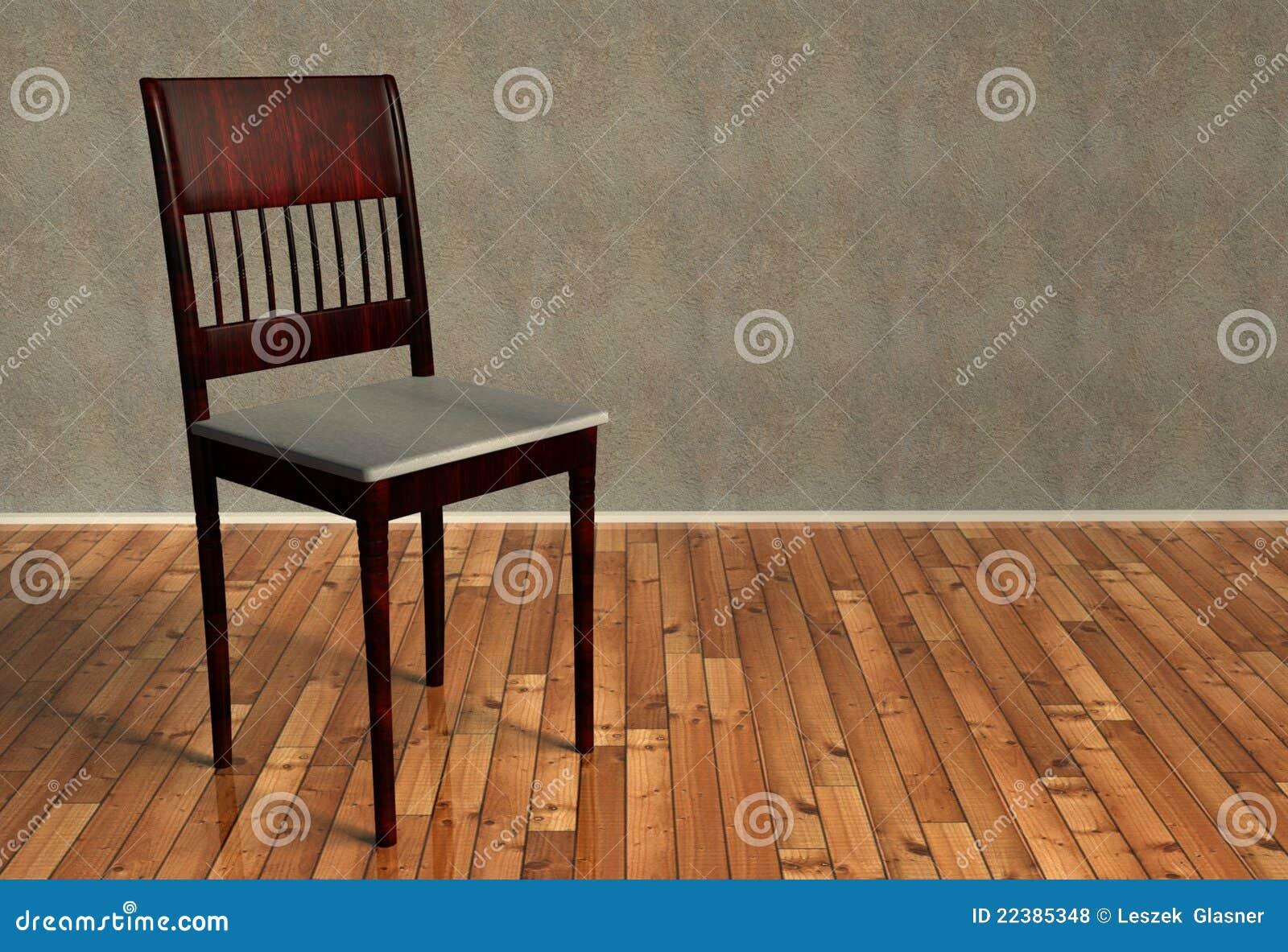Fußboden 3d Bilder ~ 3d erneuerter retro stuhl auf hölzernem fußboden stock abbildung