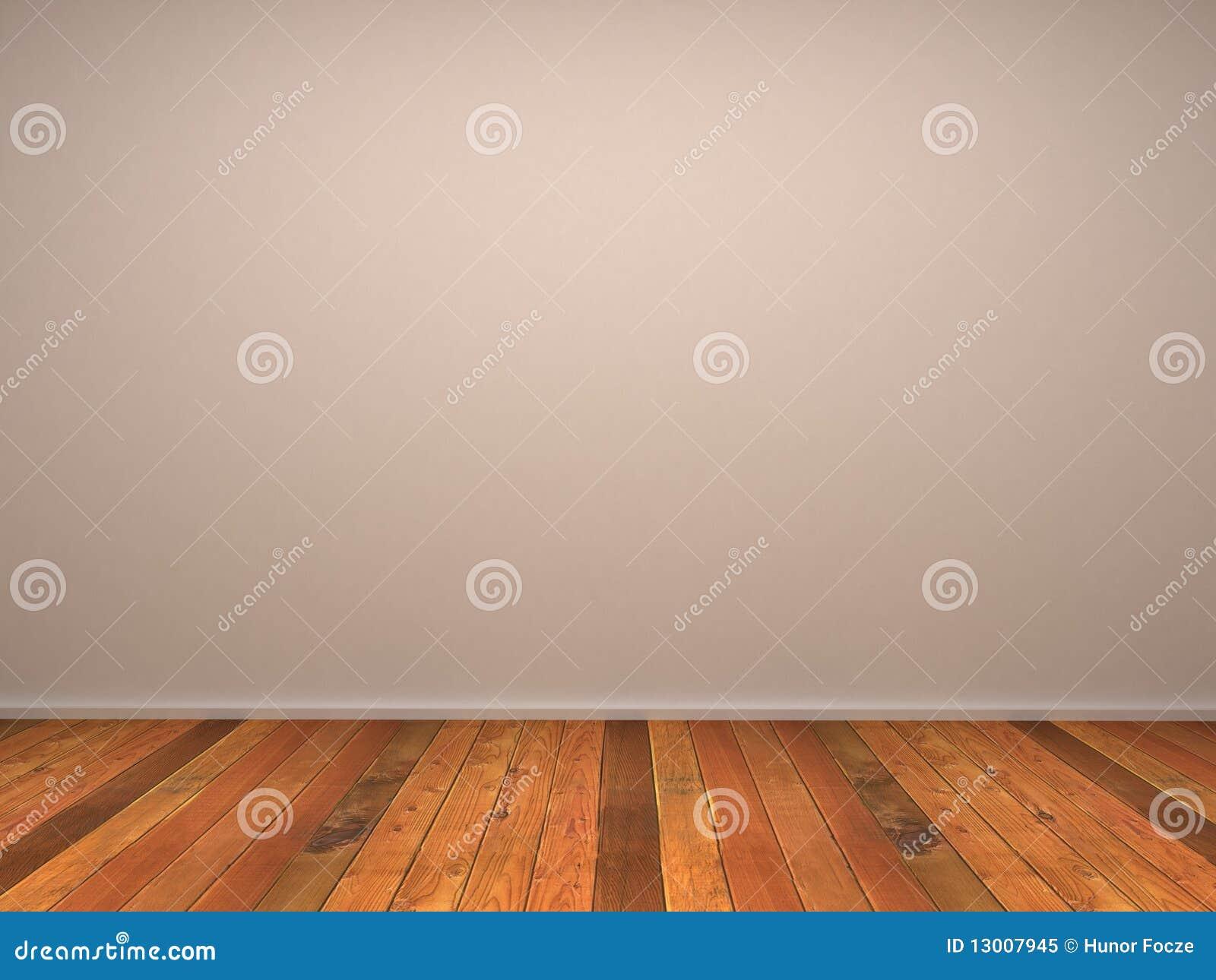 3d esvaziam a parede do quarto com parquet de madeira