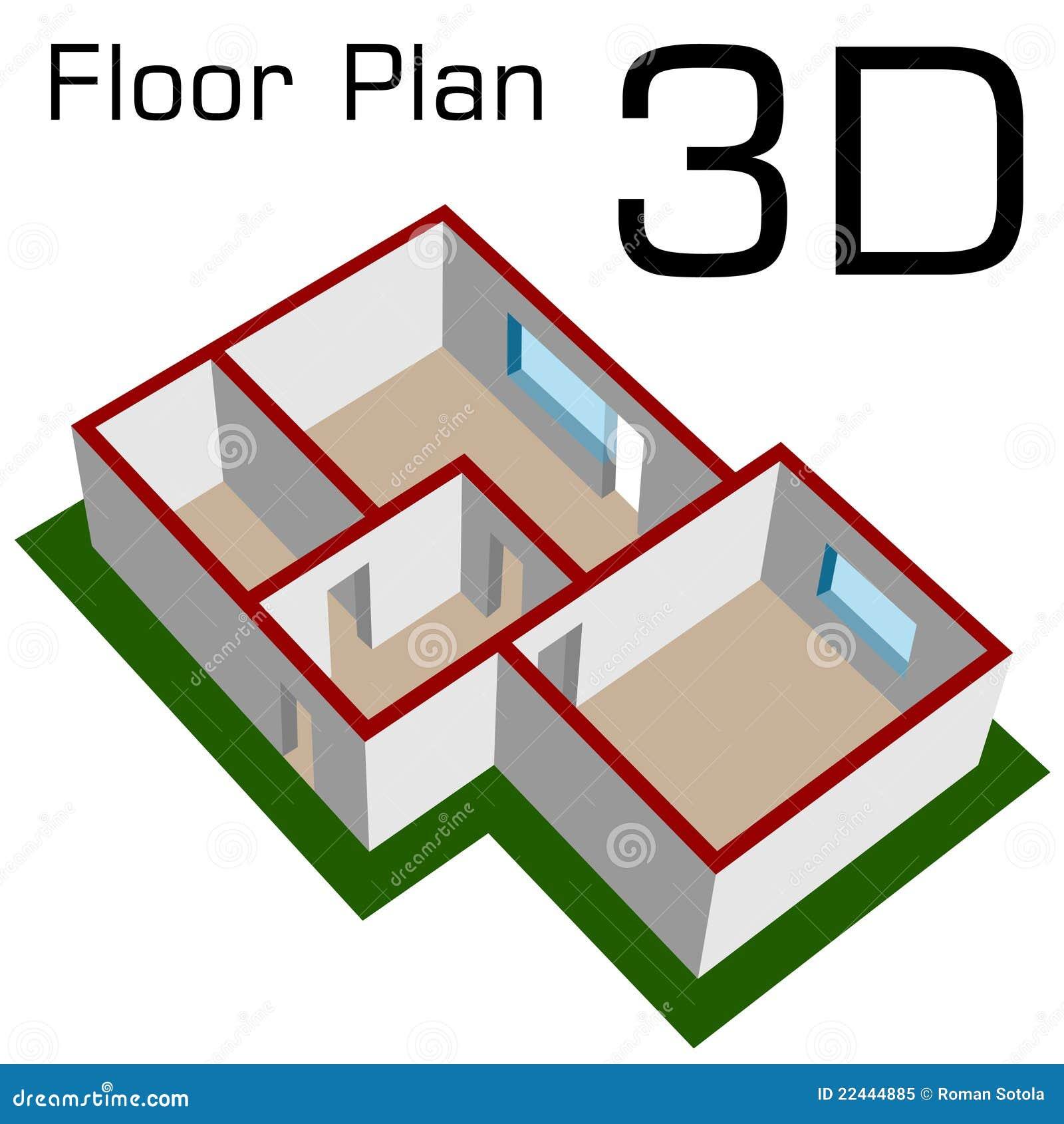 3d esvaziam a planta de assoalho da casa foto de stock Three d house plans