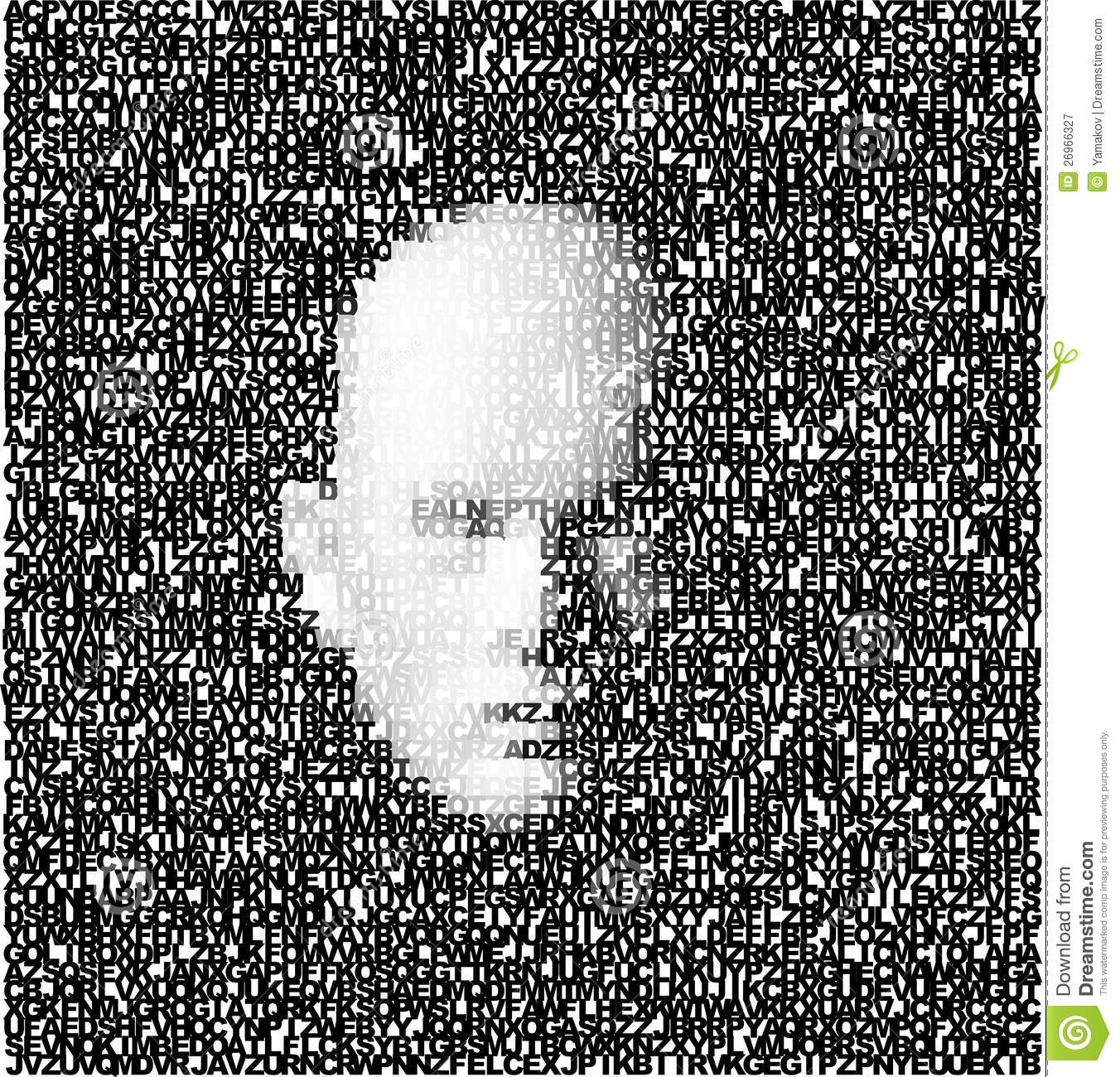 3d face made of letters