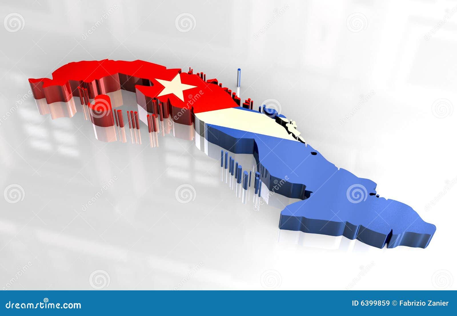 3d flag map of cuba stock illustration. Illustration of america ...