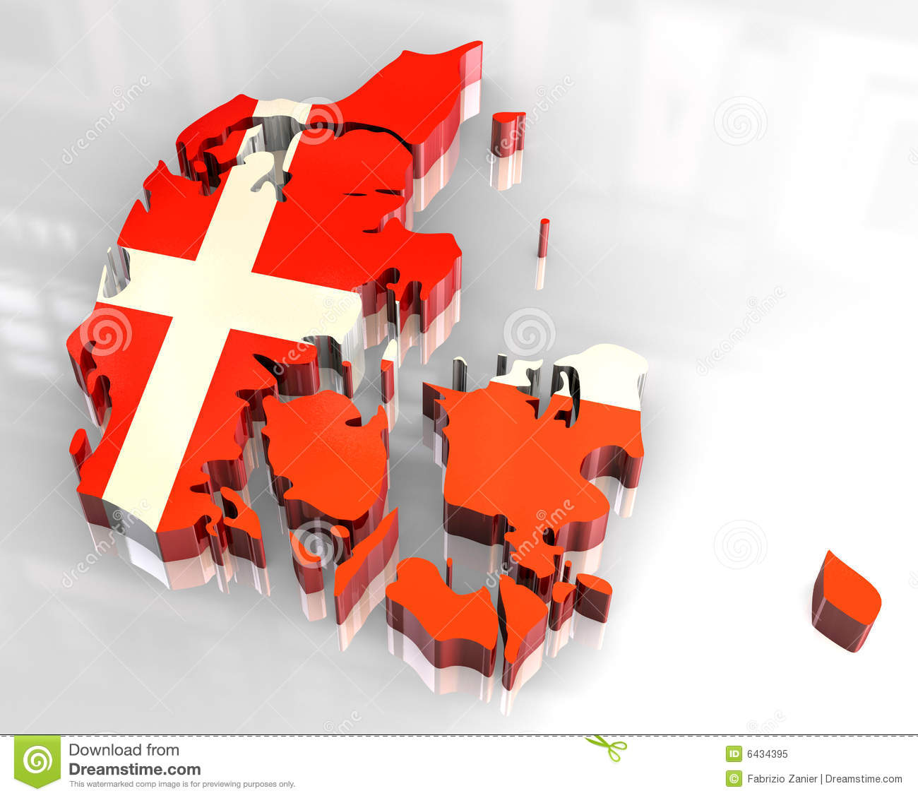 3d flag map of denmark royalty free stock photo image 6434395
