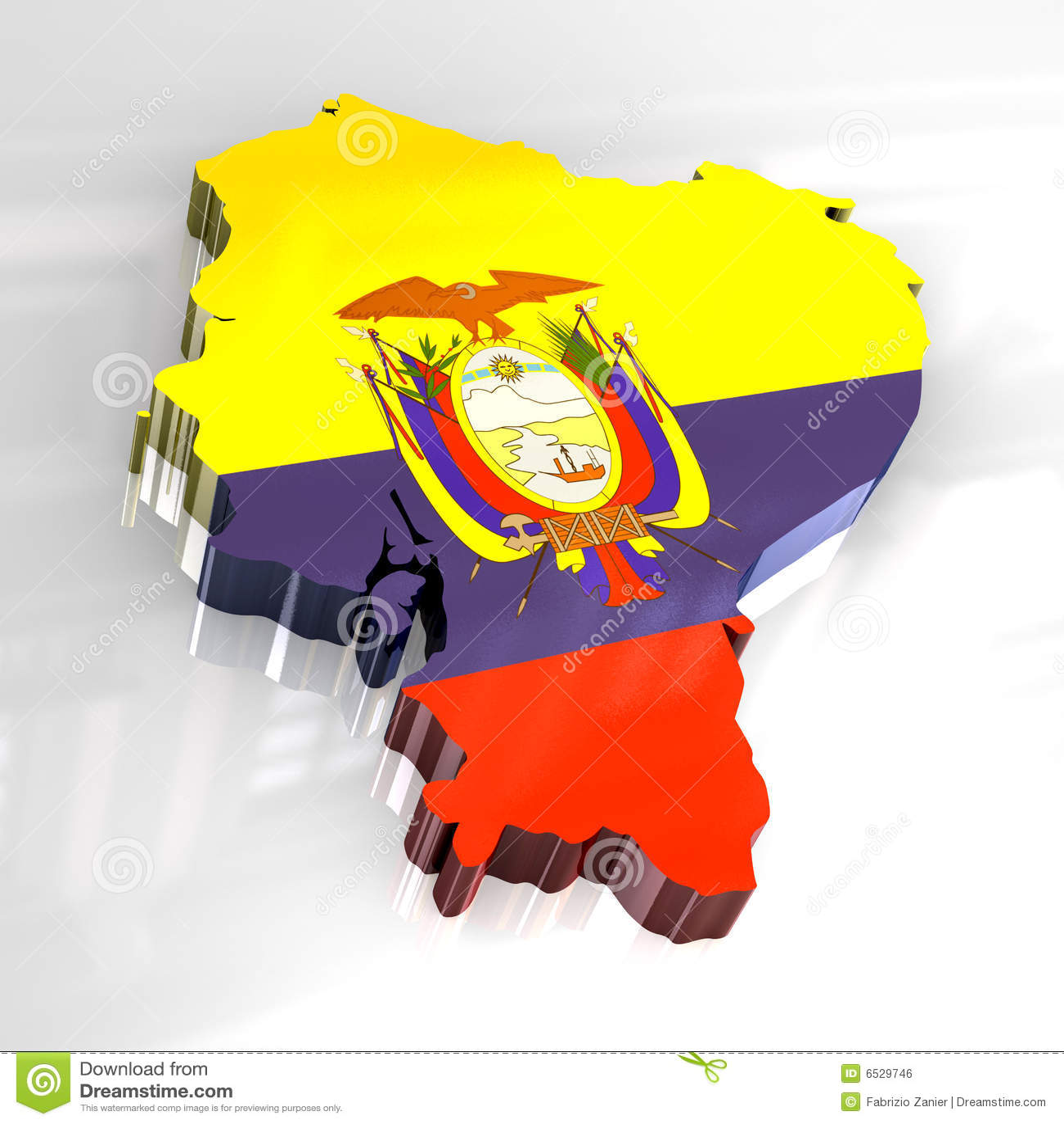 3d flag map of Ecuador stock illustration. Illustration of figure ...
