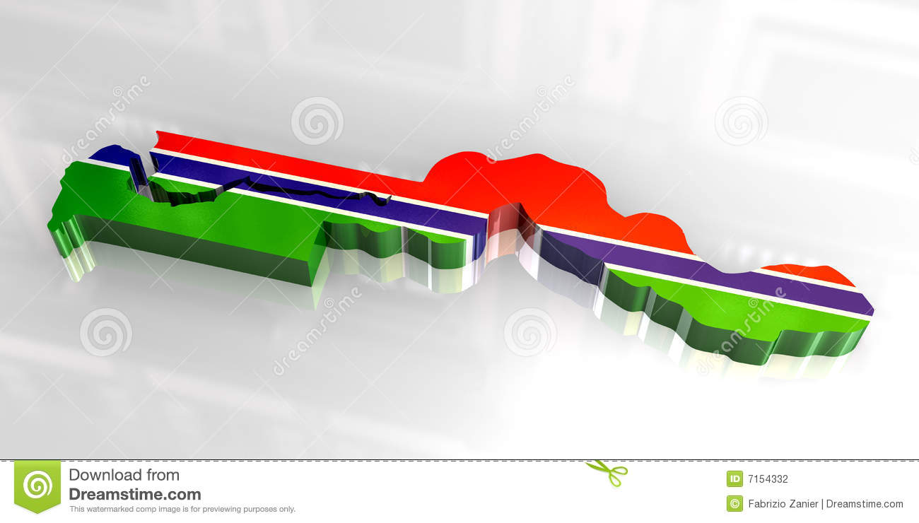 3d flag map of Gambia stock illustration Illustration of button
