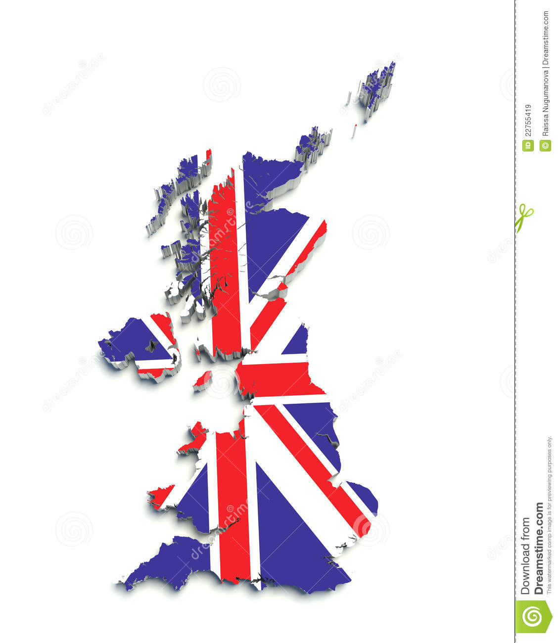 3D Flag Map Of Great Britain On White Royalty Free Stock Images ...
