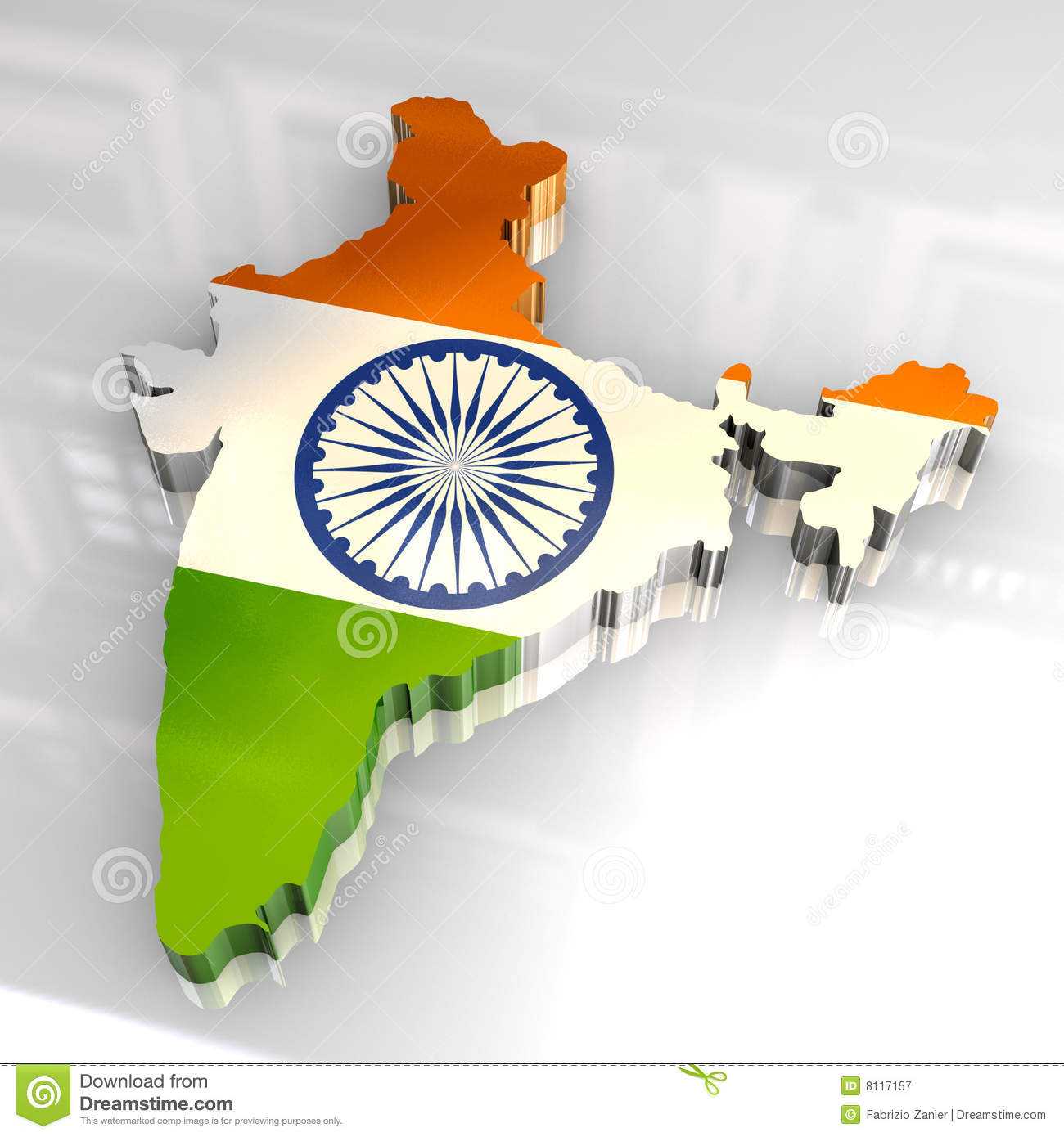 3d Flag Map Of India Stock Illustration Image Of