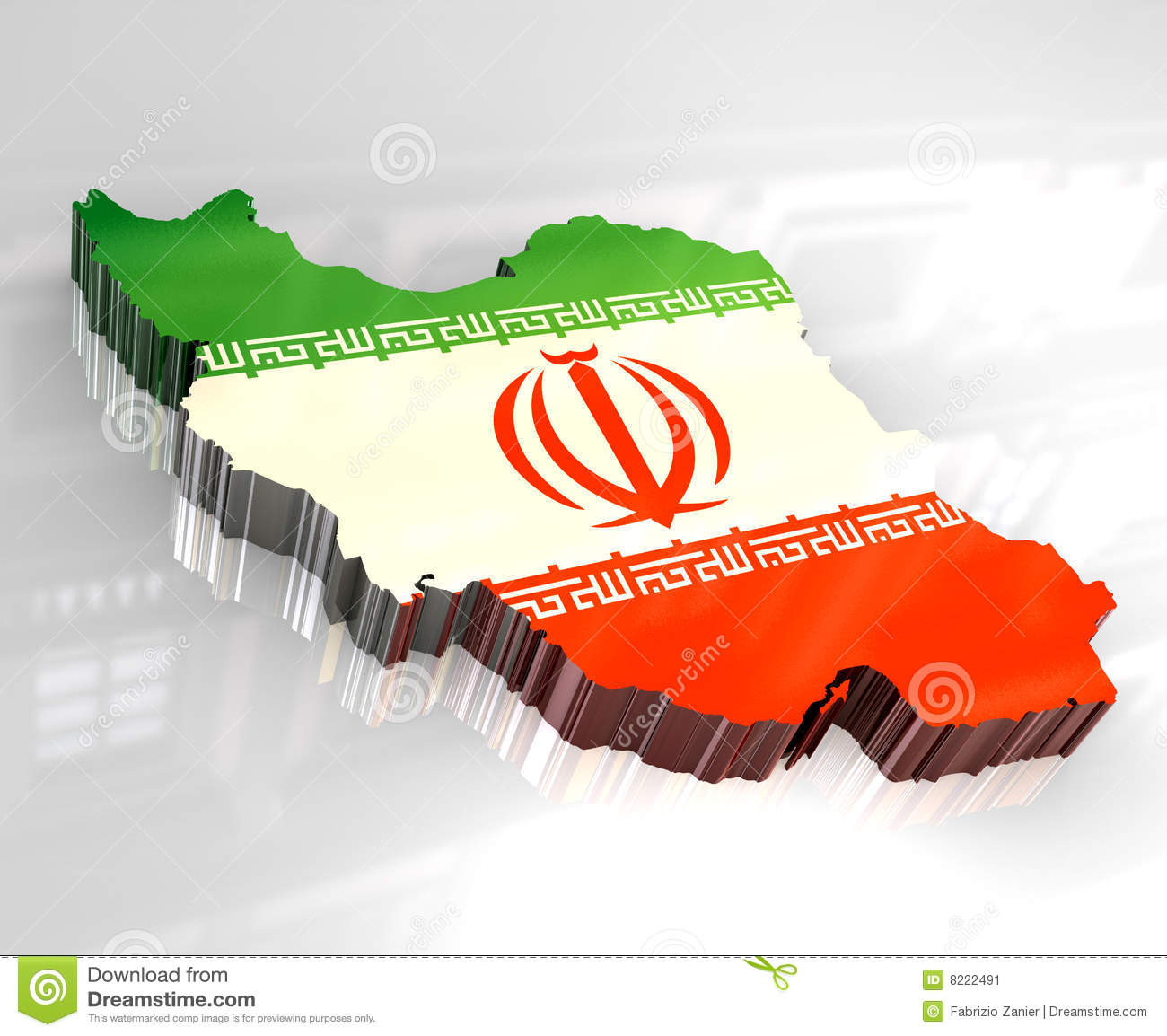 3d Flag Map Of Iran Stock Image - Image: 8222491