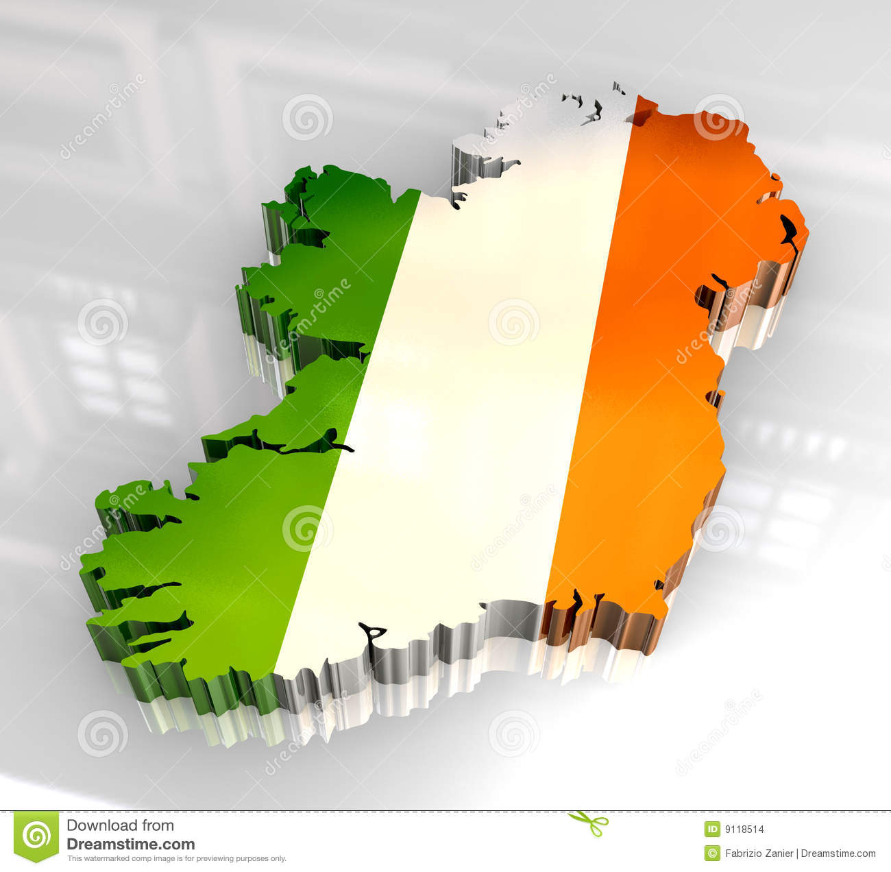 Map Of Ireland 3d.3d Flag Map Of Ireland Stock Illustration Illustration Of Green