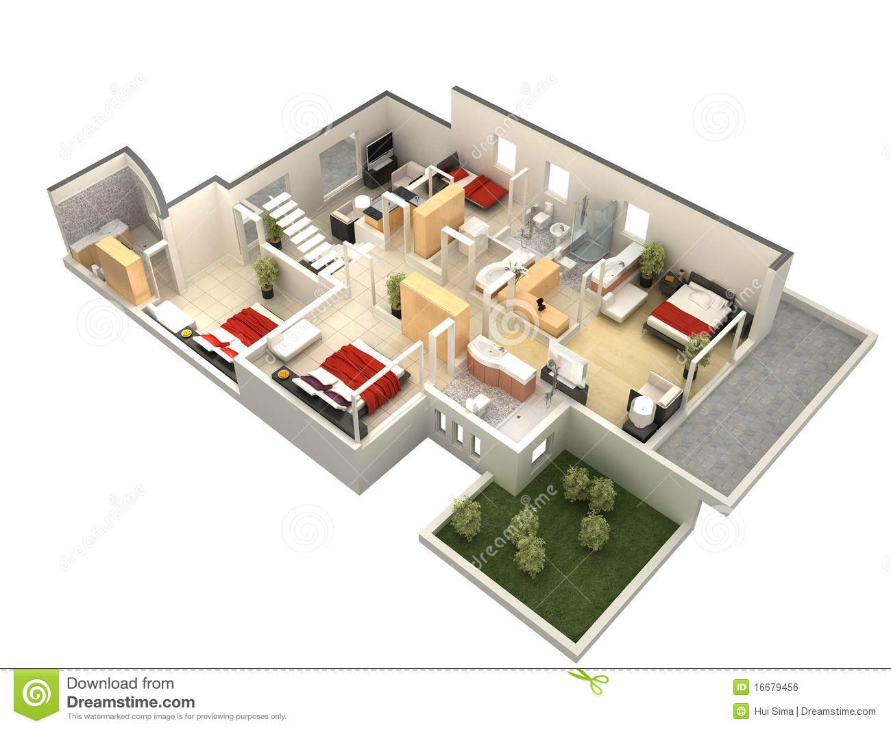 3d floor plan stock illustration illustration of computer for Plan interieur de maison moderne