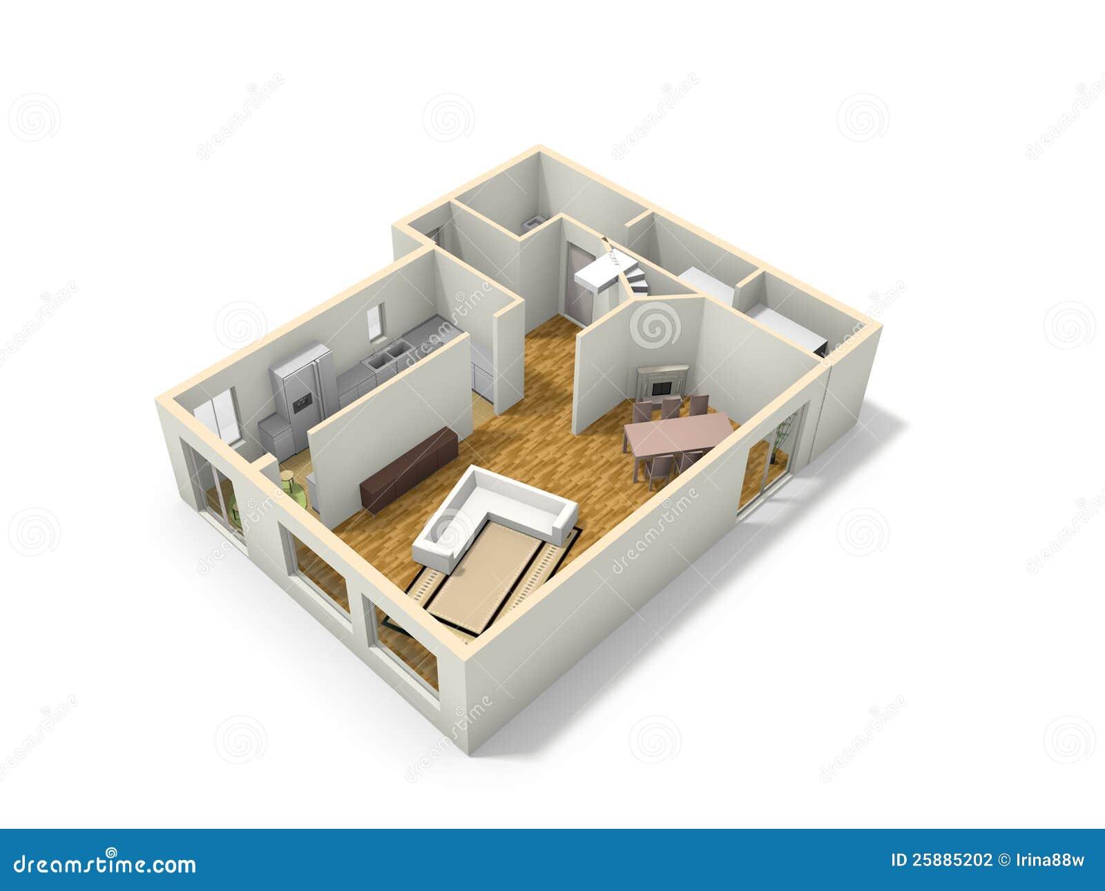 3d Floor Plan Stock Photography Image 25885202
