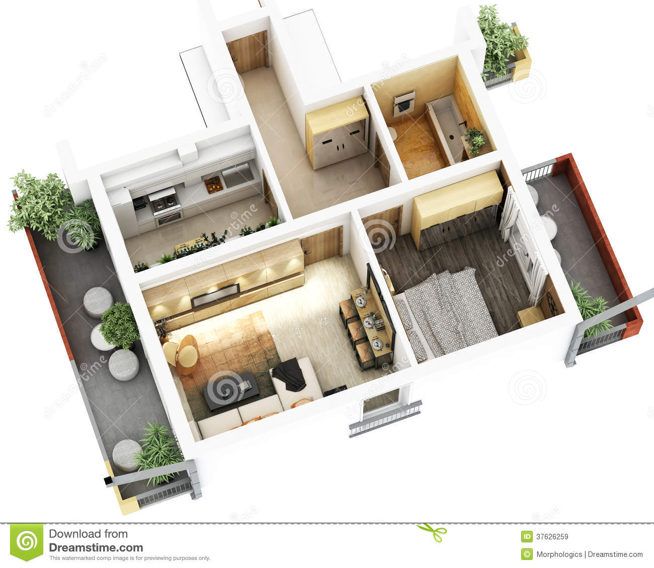 Bungalow 3d Floor Plan: 3d Floor Plan Stock Illustration. Illustration Of Design