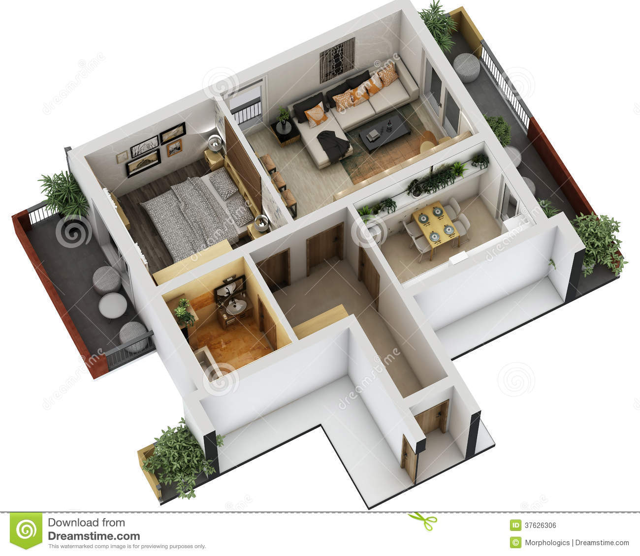 3d floor plan royalty free stock image image 37626306 for Appartement design plan