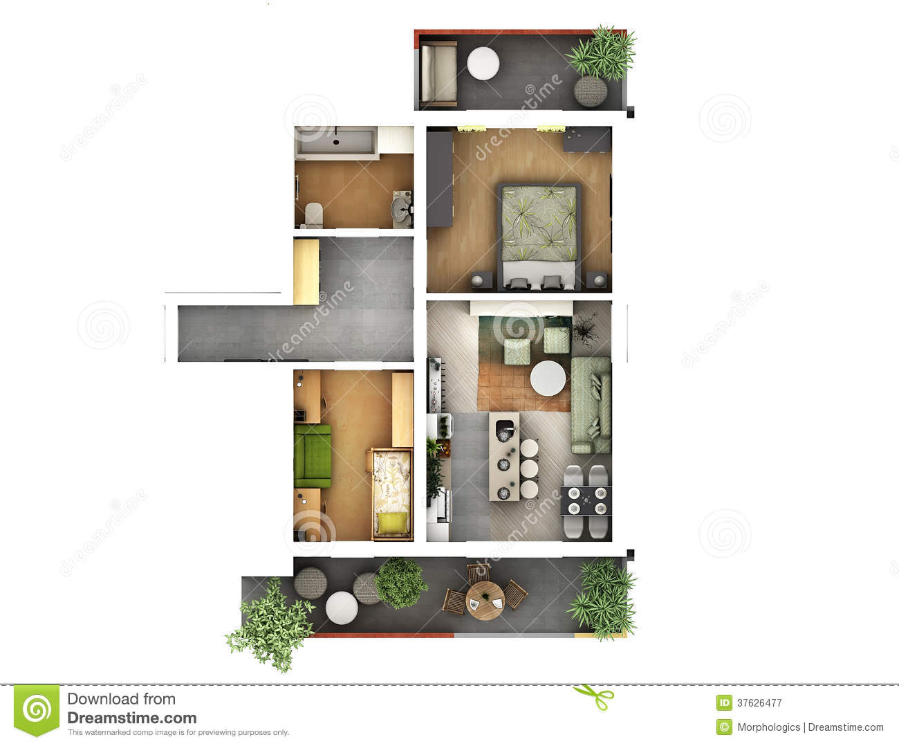 3d floor plan stock illustration. Image of decoration
