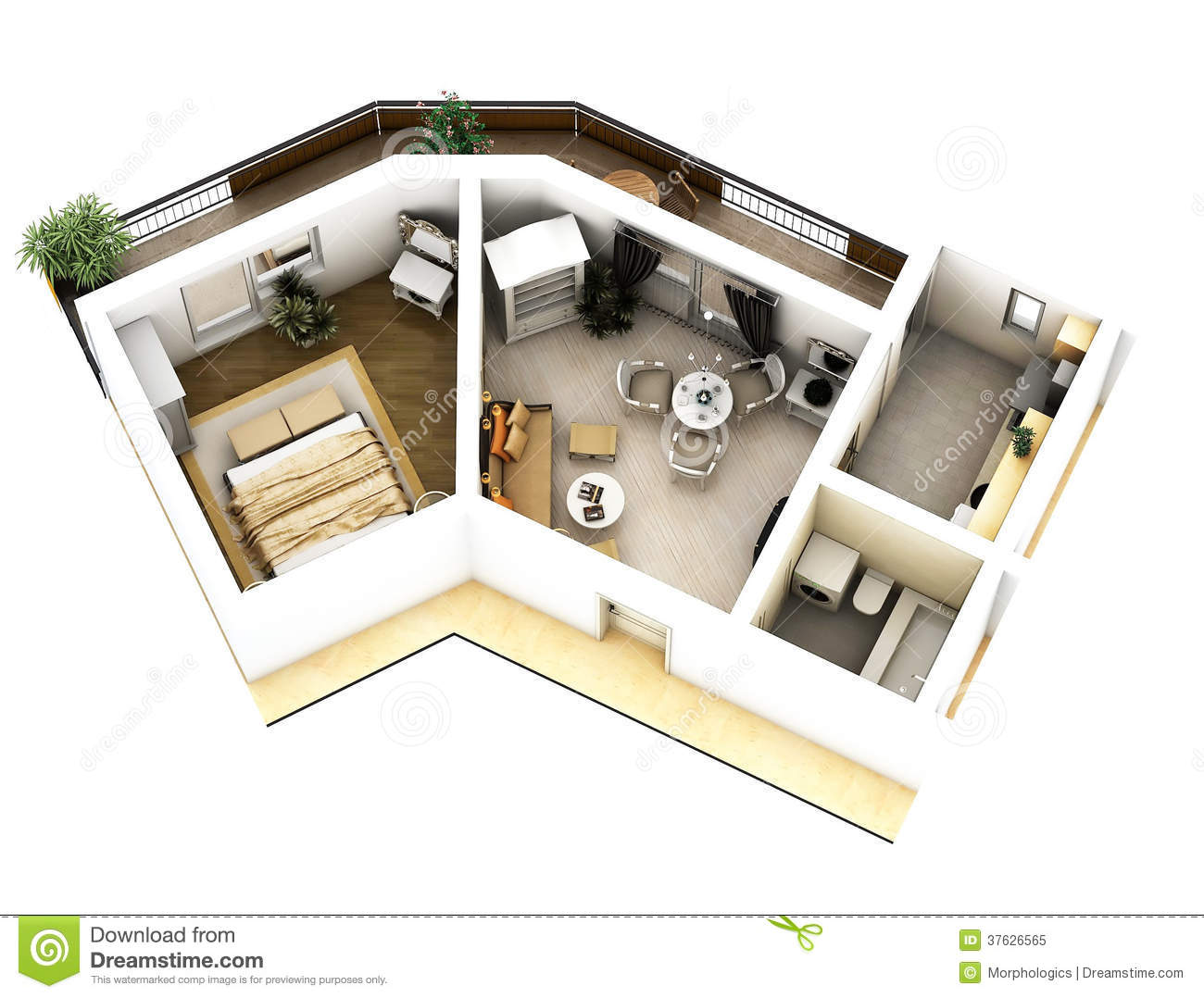 Royalty Free Stock Photo 3d Floor Plan Image37626565 on Small Studio Apartment Floor Plans 3d
