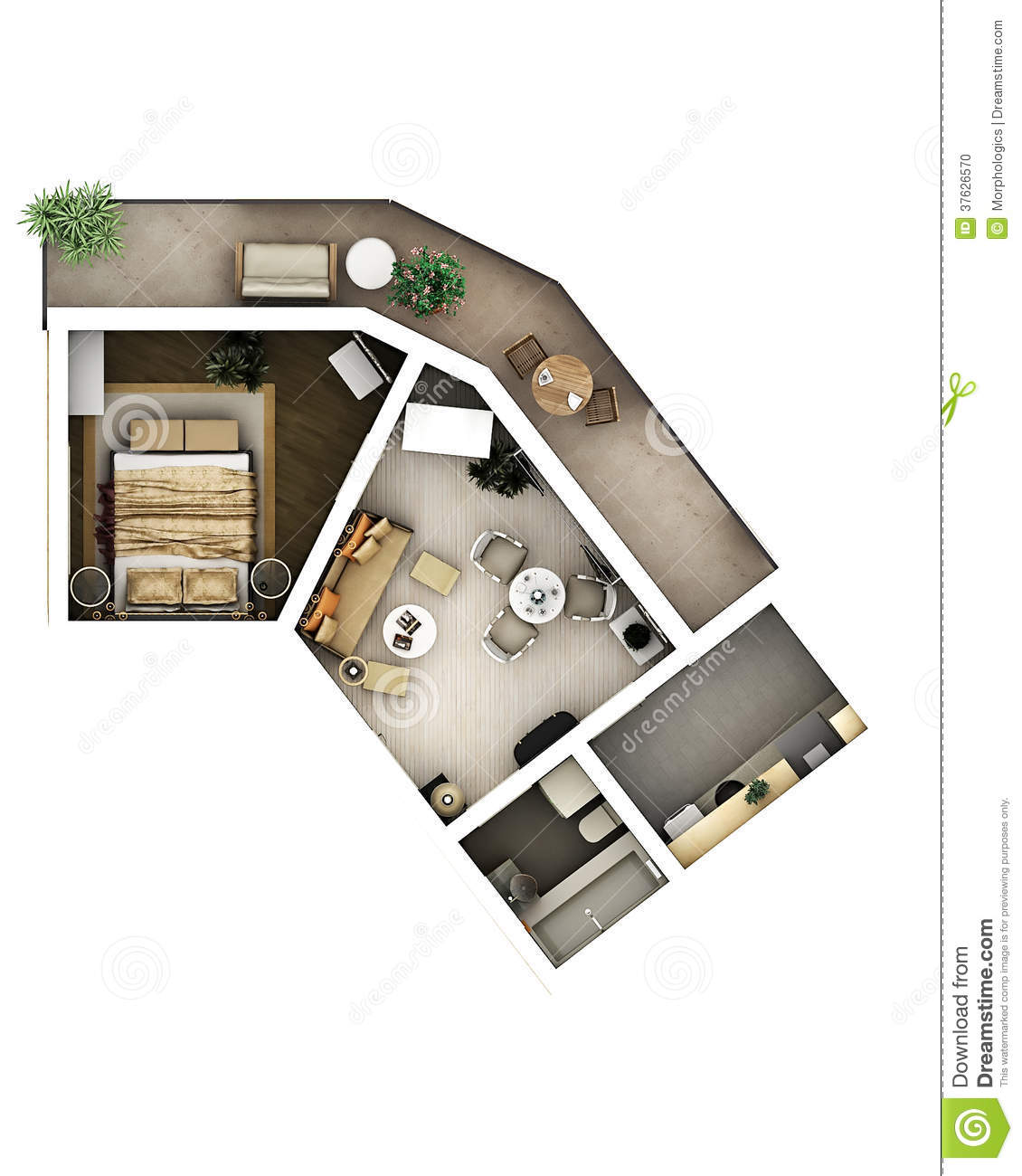 3d Floor Plan Stock Illustration Image Of Cosy Blueprint