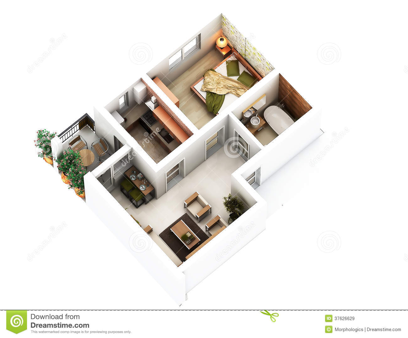 3d floor plan stock illustration image of above. Black Bedroom Furniture Sets. Home Design Ideas