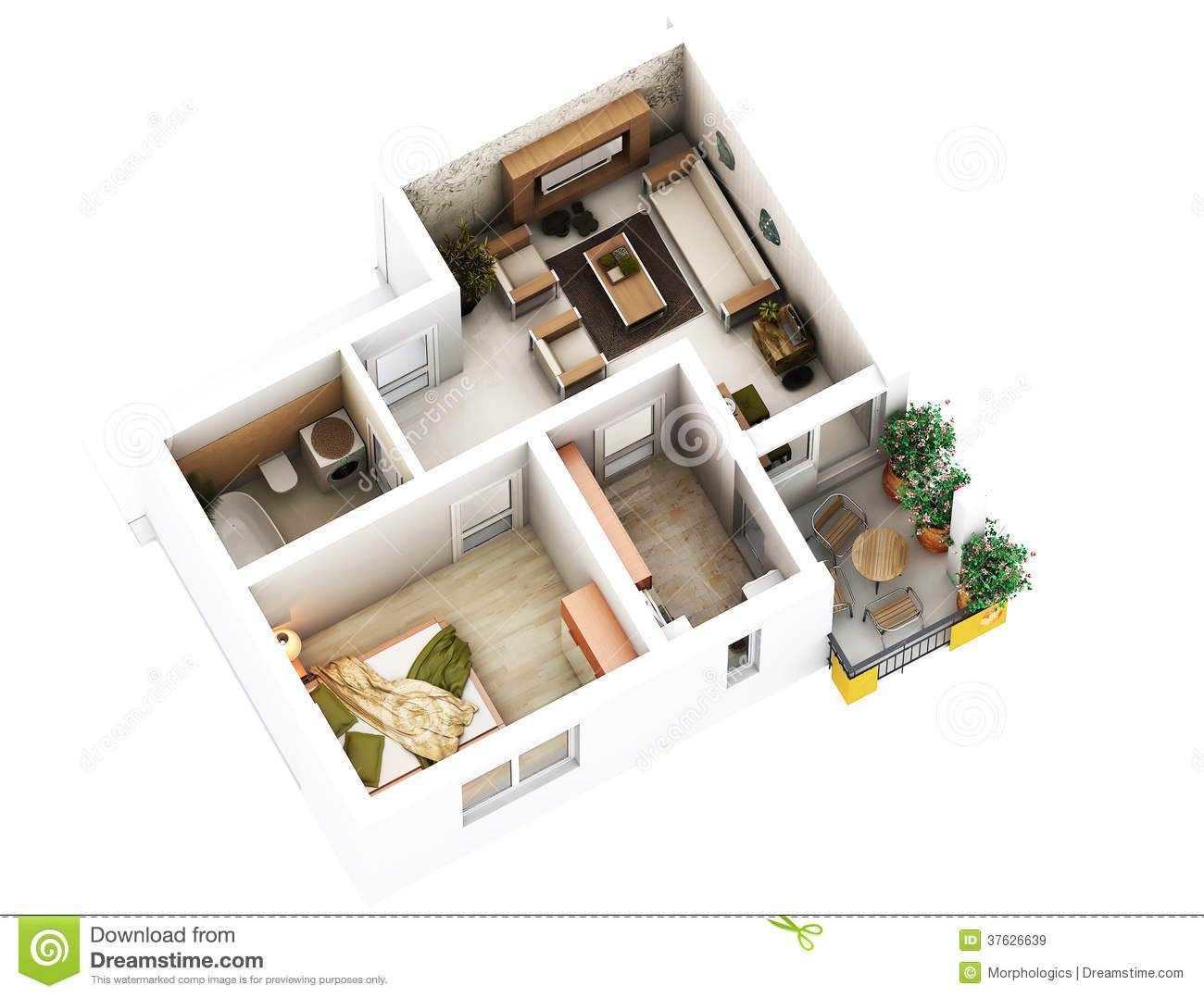 3d floor plan stock illustration illustration of hall. Black Bedroom Furniture Sets. Home Design Ideas