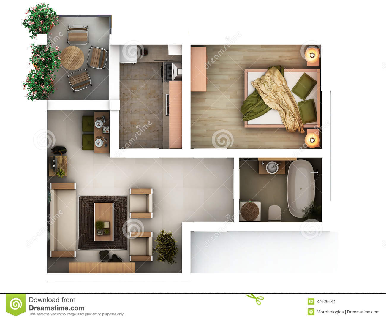 3d floor plan stock image image 37626641 for Appartement design plan