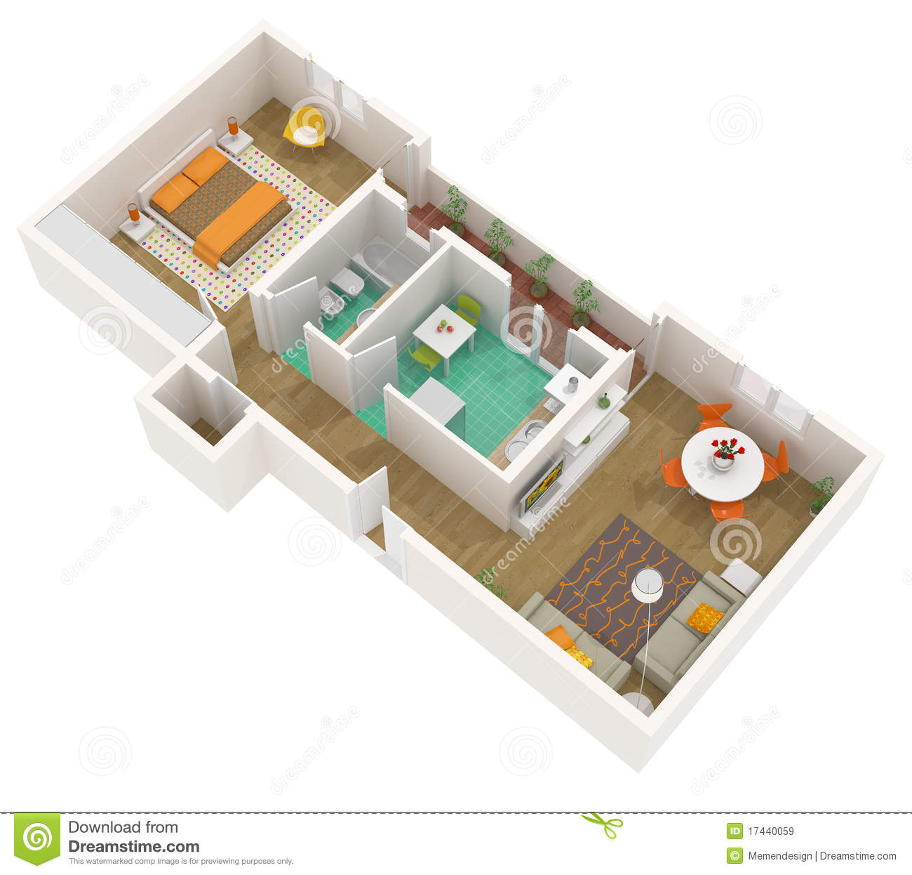 3d floor plan - apartment stock illustration. Illustration of ...