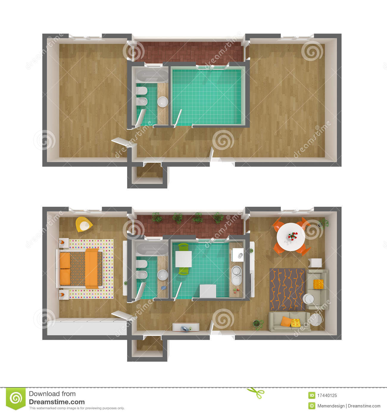 3d floor plan top view stock illustration illustration for View floor plans