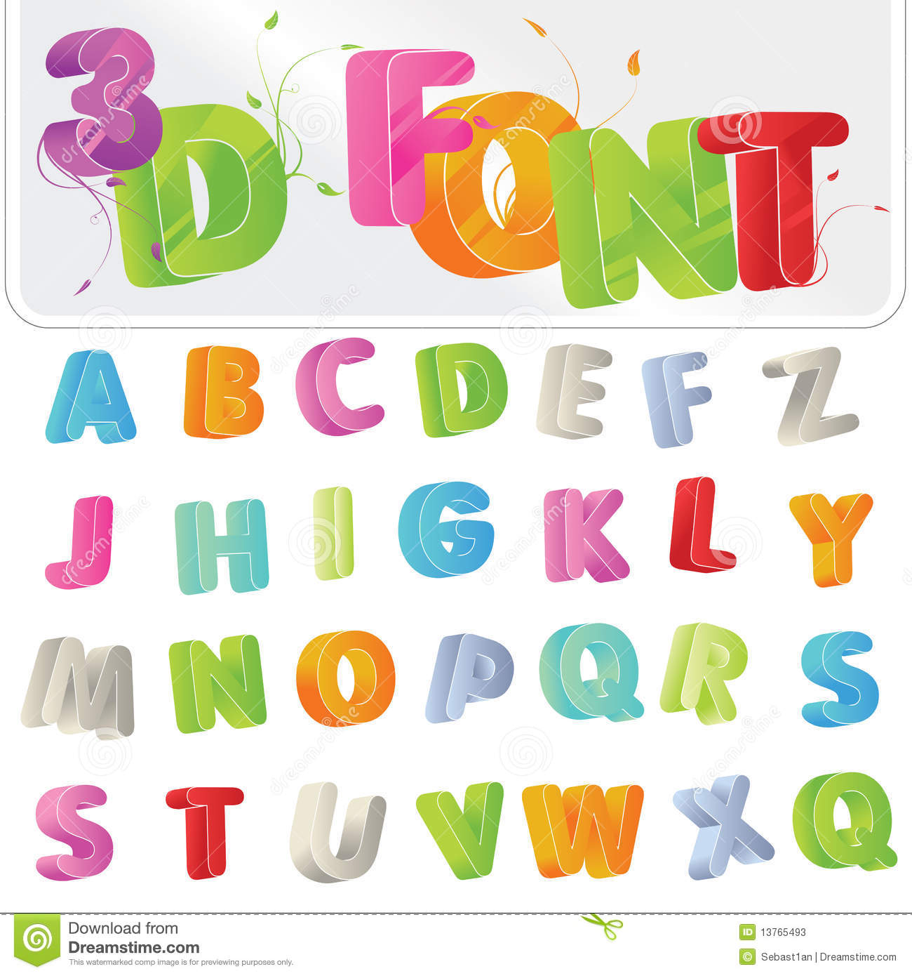 3D Font Cute Candy Colored 3d Alphabet Stock Photos