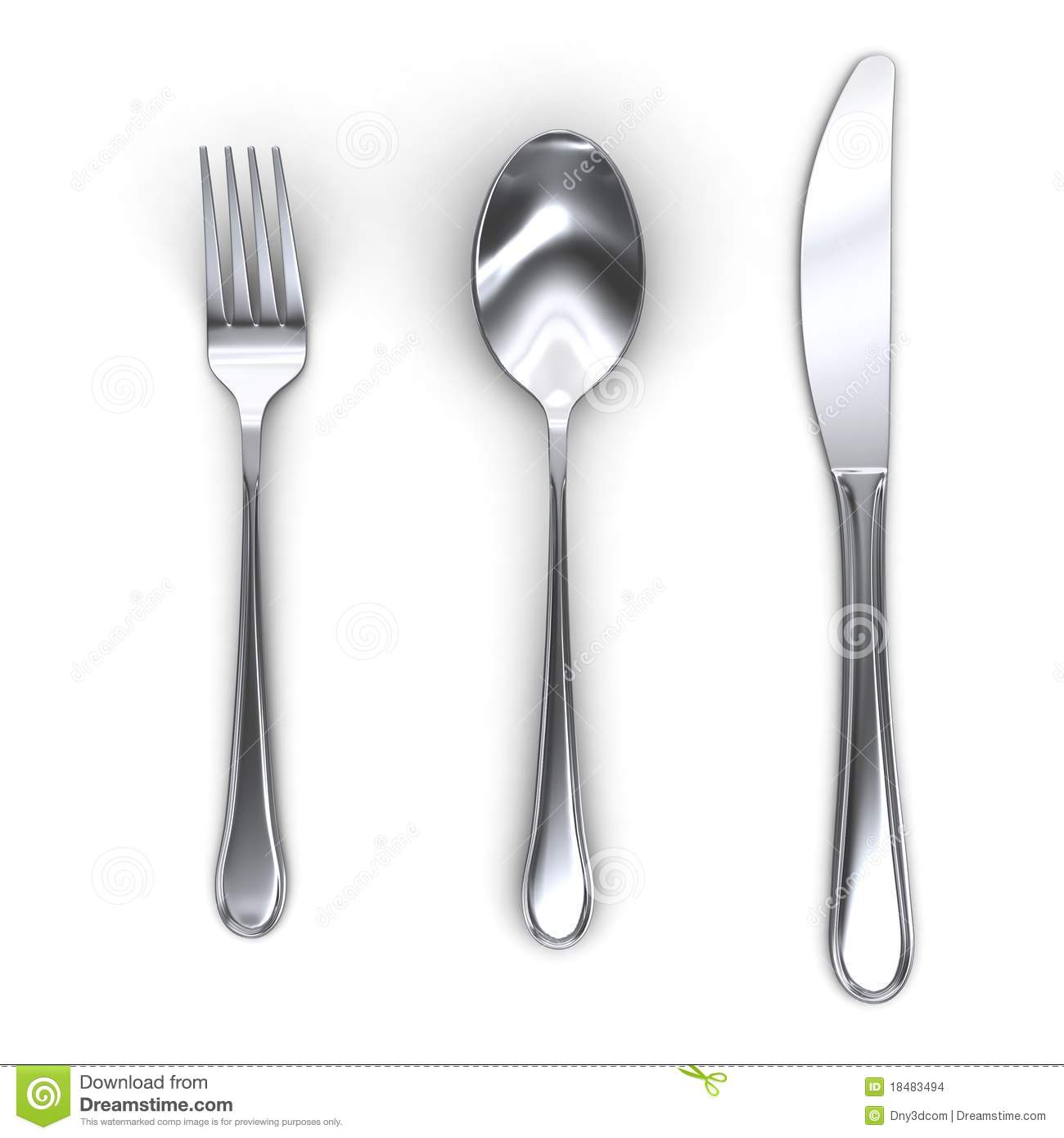 3d Fork Spoon And Knife Stock Images Image 18483494