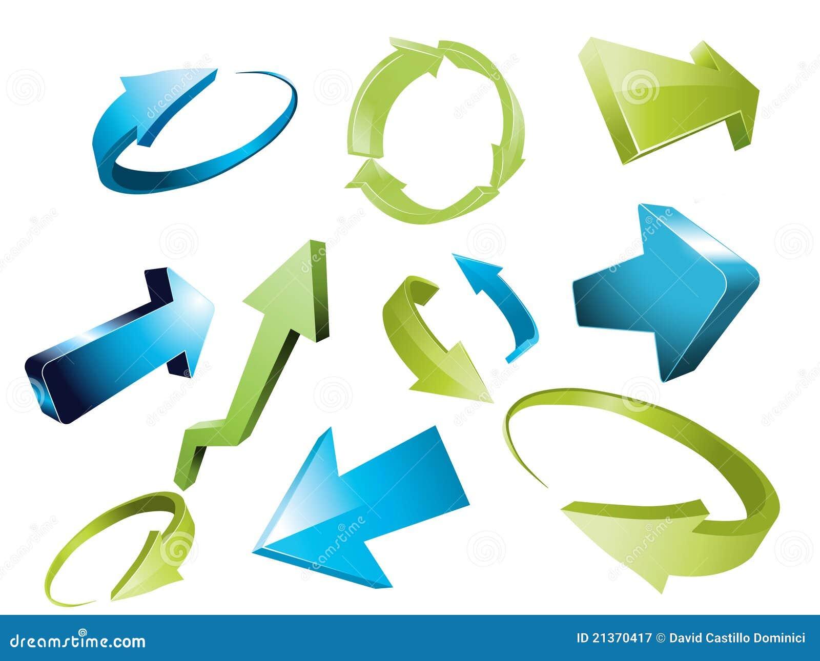 3d frecce insieme di elementi impreciso di disegno della for Immagini tridimensionali gratis