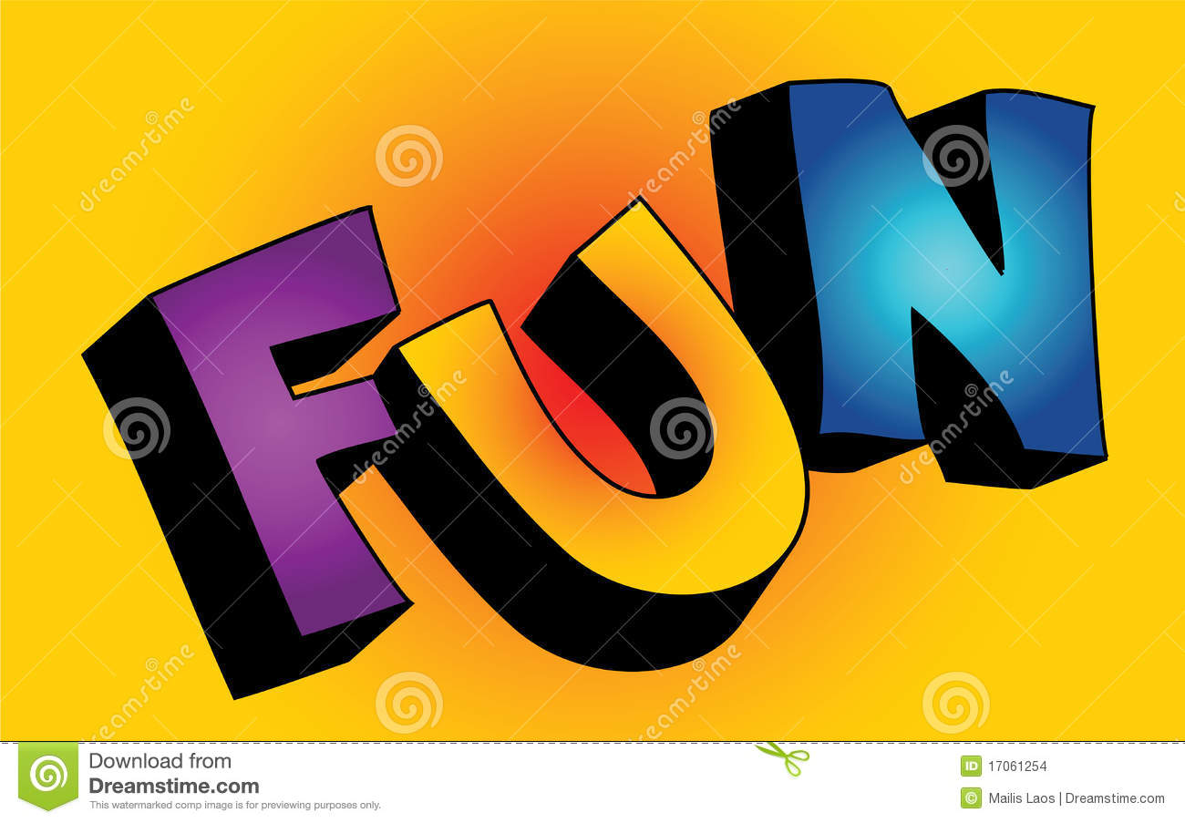 3d fun word stock vector image of purple colorful