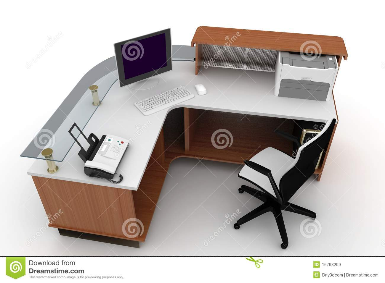 3d Furniture Office Space Royalty Free Stock Images