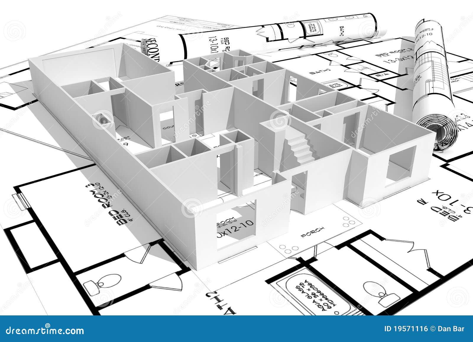 3d göra en skiss av huset isolerad modern white konstruktion framför