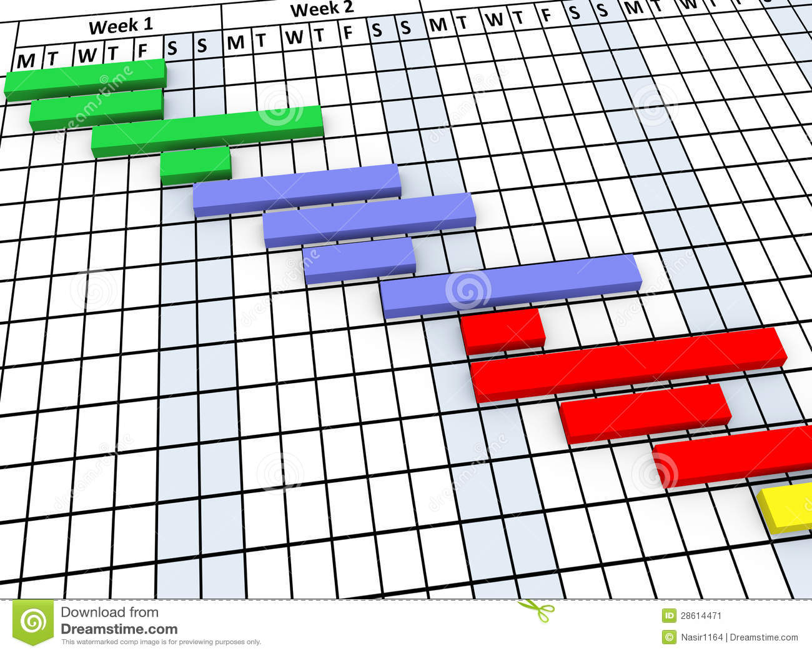 3d Gantt Chart Progress Stock Image Image 28614471