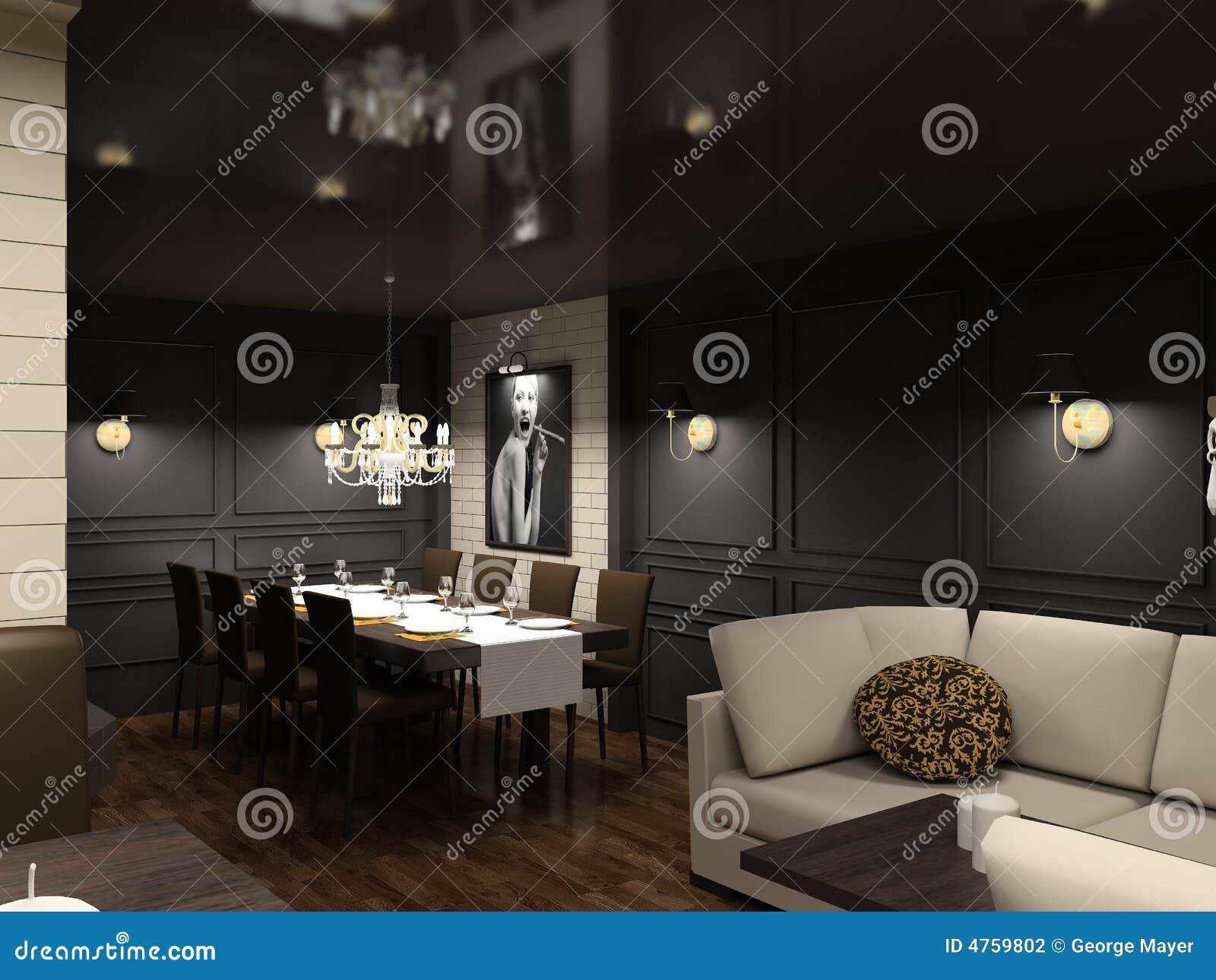 D geef modern binnenland van eetkamer terug stock illustratie