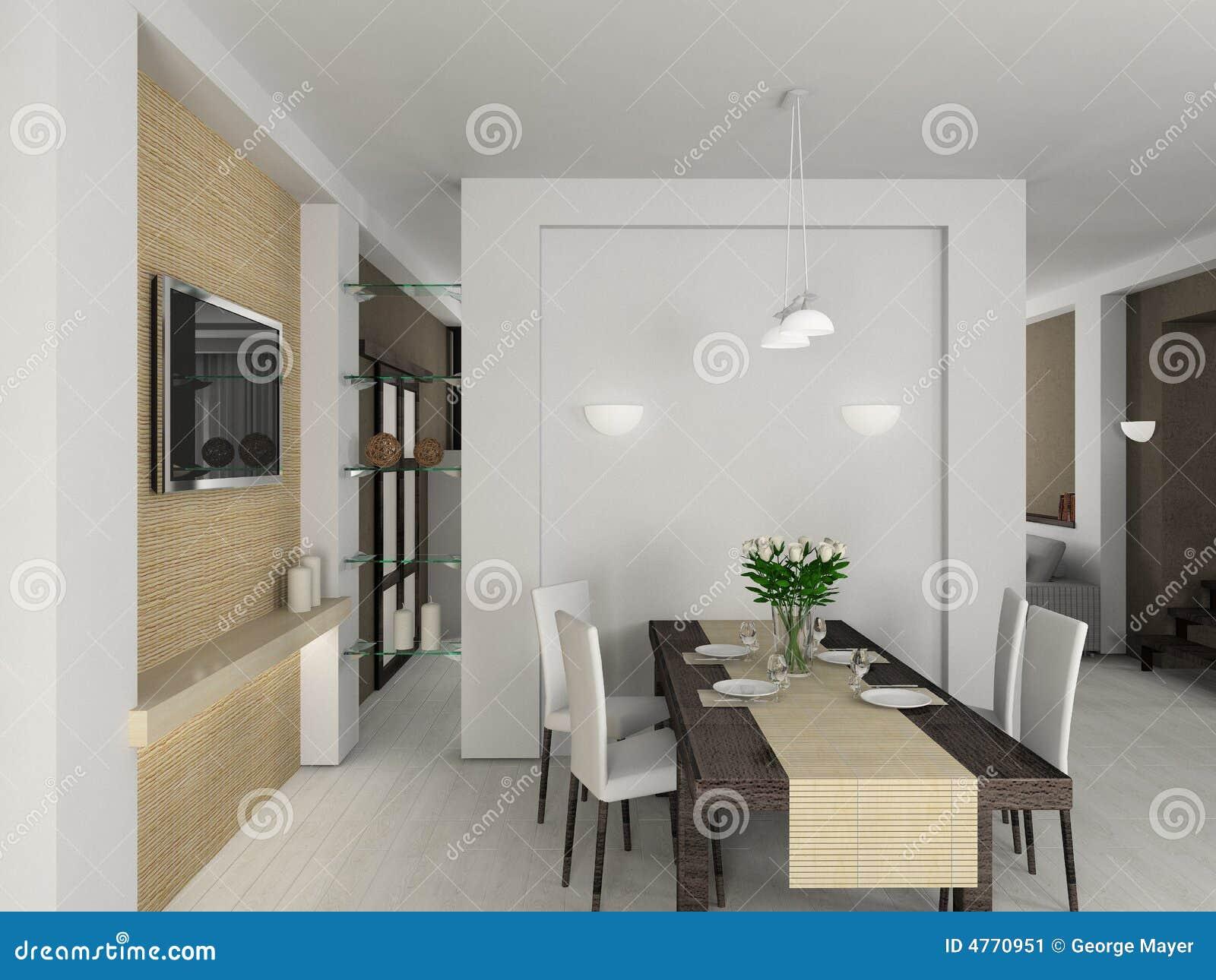 3d geef modern binnenland van eetkamer terug stock - Moderne eetkamer ...