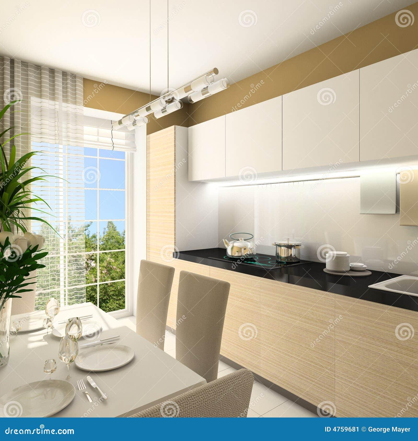 3D geef modern binnenland van keuken terug