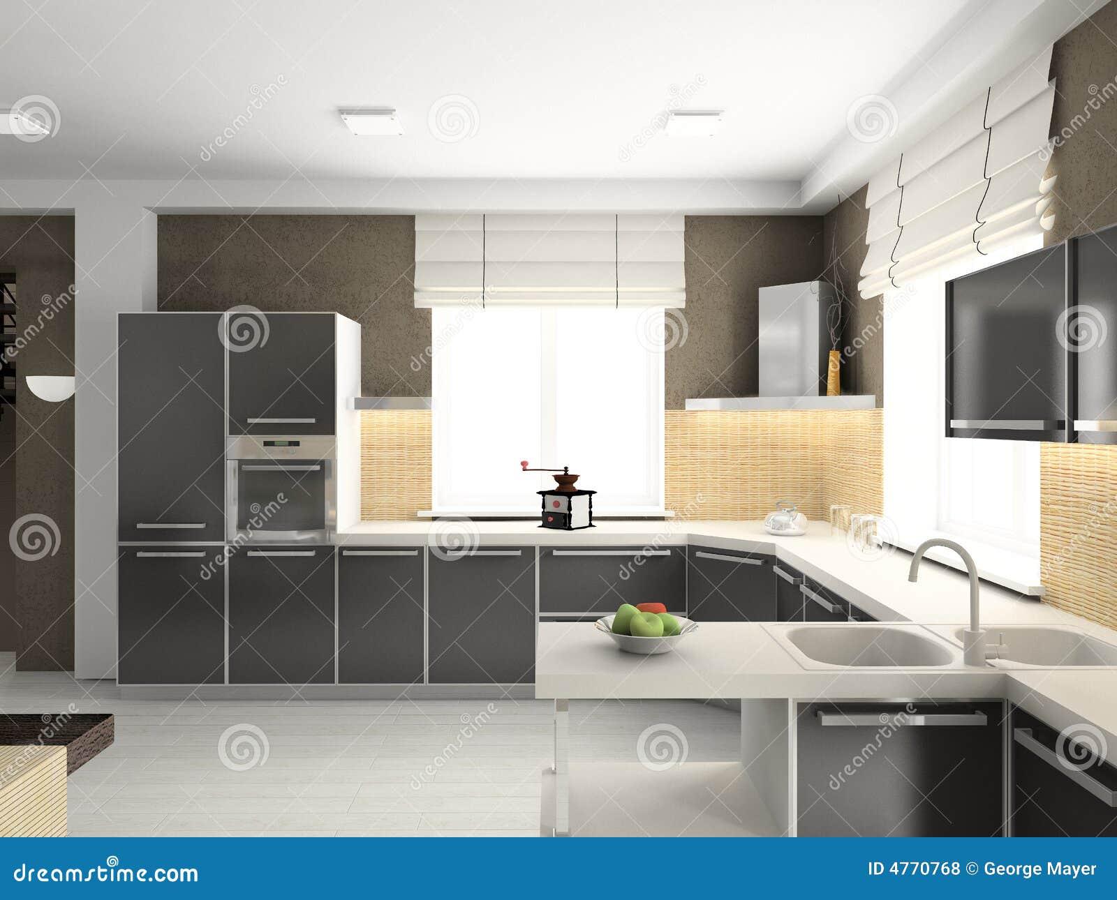 3d geef modern binnenland van keuken terug stock foto afbeelding 4770768 - Fotos van keuken amenagee ...