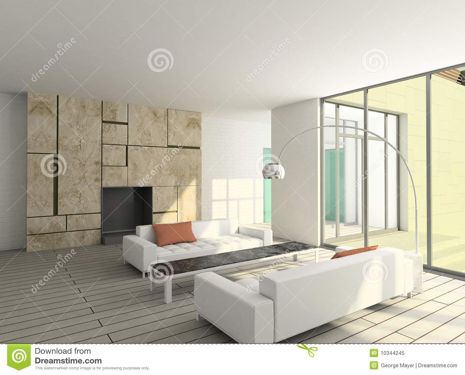3D Geef Modern Binnenland Van Woonkamer Terug Stock Afbeelding ...
