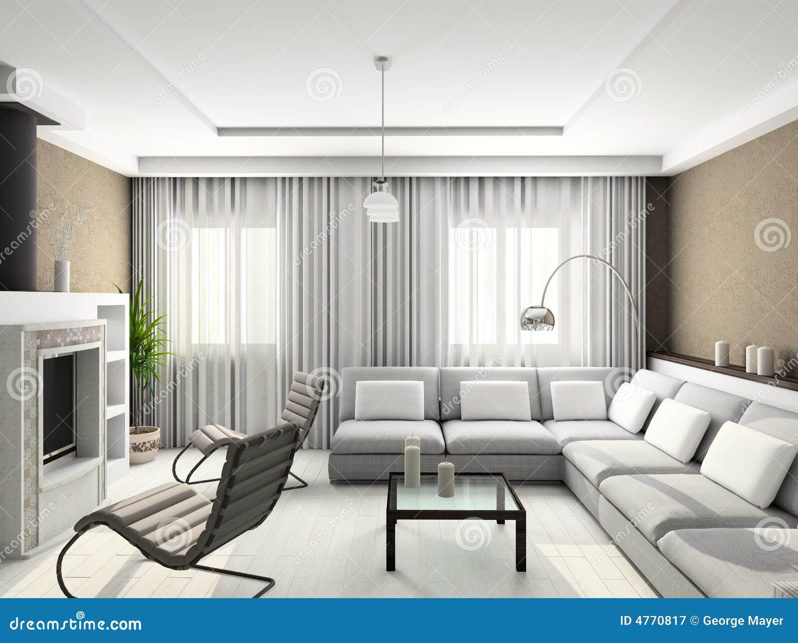 3d geef modern binnenland van woonkamer terug stock afbeelding afbeelding 4770817 - Fotos van moderne woonkamer ...