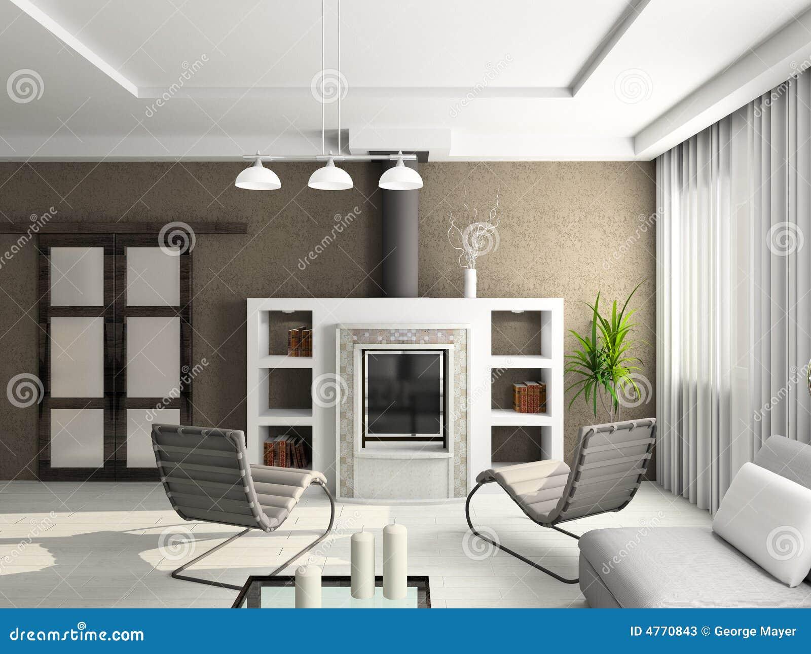 3d geef modern binnenland van woonkamer terug stock foto 39 s afbeelding 4770843 - Fotos van moderne woonkamer ...