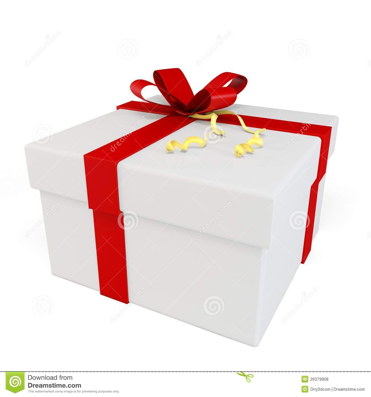 3d gift box with red bow stock illustration. Image of ...