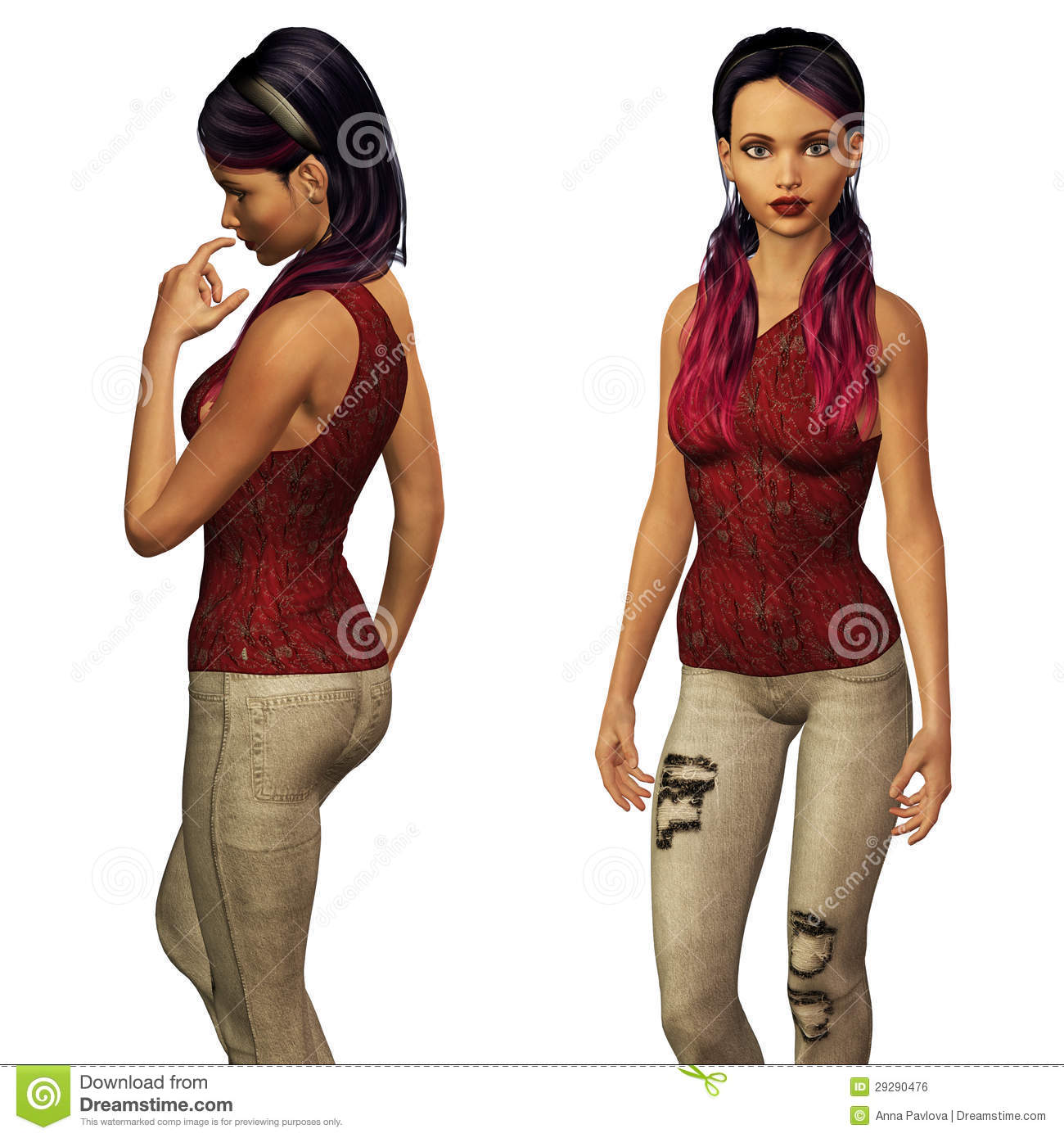 3d Girl In Casual Wear Stock Illustration. Image Of