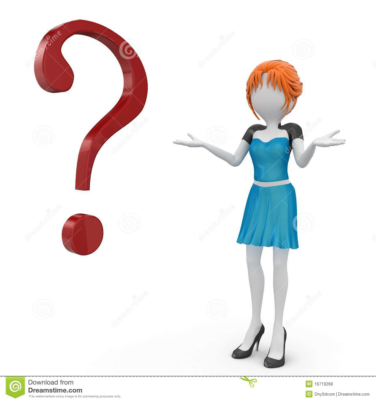 3d Girl With Question Mark Royalty Free Stock Photos
