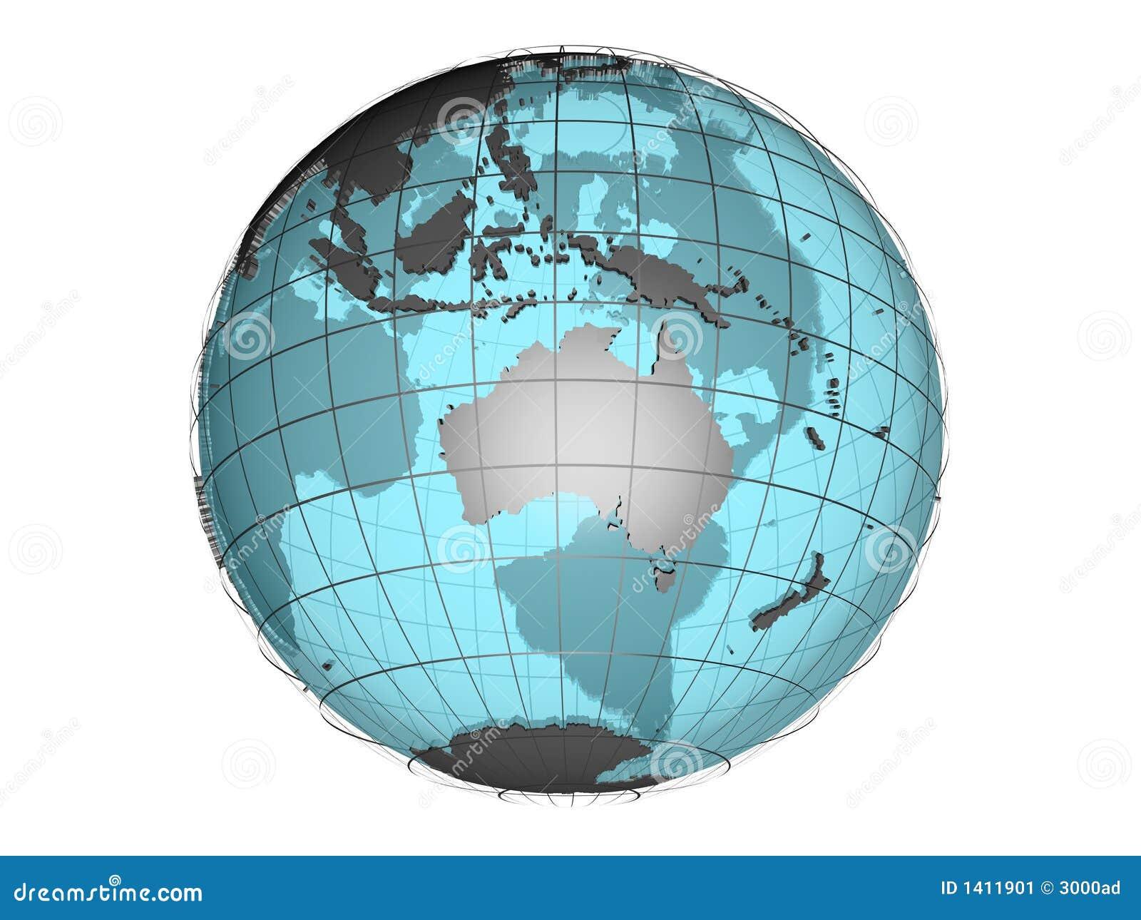 3d globe See-through Australie et Océanie affichantes modèles