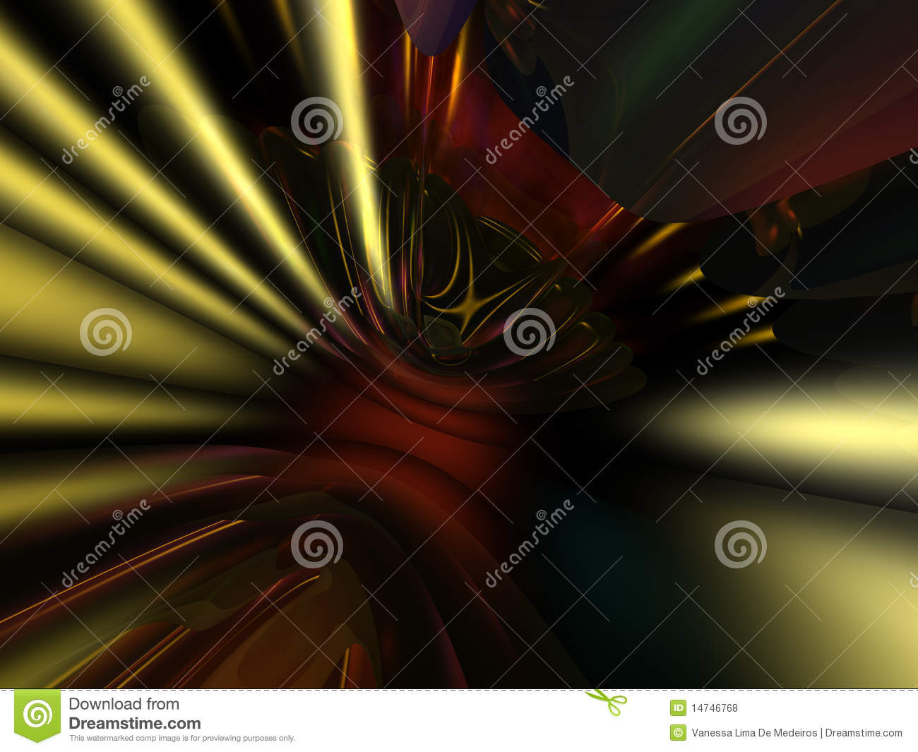 3D Gold Red Abstract Wallpaper Background Royalty Free Stock