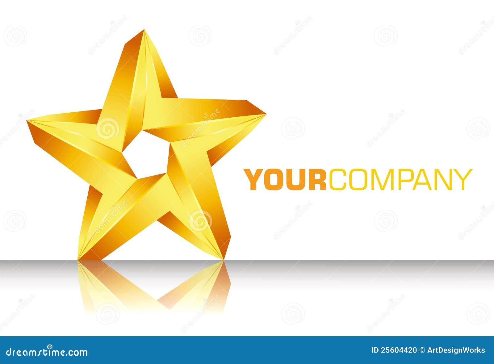 3d gold star logo stock vector illustration of
