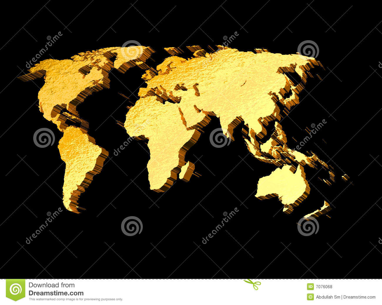 3d gold world map stock illustration illustration of australia 3d gold world map gumiabroncs Gallery