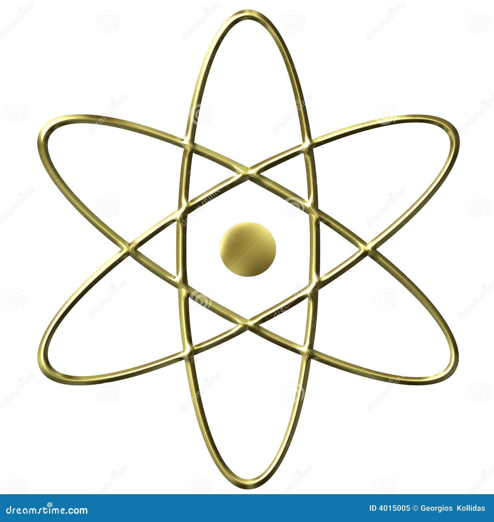 3d Golden Atom Symbol Stock Illustration  Illustration Of