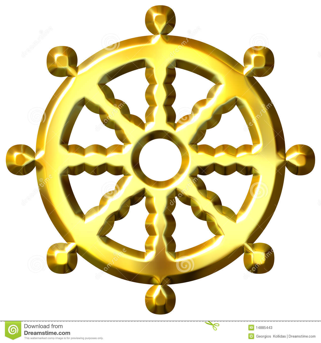 Golden Dharma Wheel Buddhism Religion Symbol Stock Vector